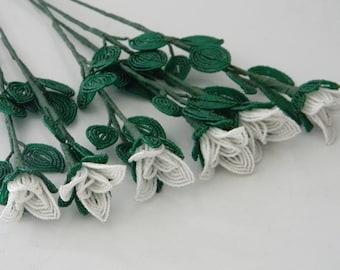 6 french beaded flowers handmade white rose buds half dozen