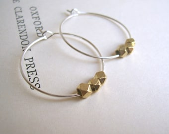 Yellow Gold and Silver mixed metal hoop earrings - little facetted beads - minimalist jewellery - SALE