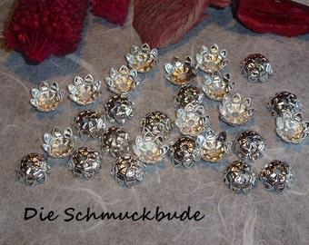 D-03205 - 50 Bead caps 11mm silver