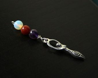 Triple gem Birth Goddess Blessingway bead - Sea opal, carnelian, amethyst - Mother Blessing, baby shower gift, pregnancy pendant, doula gift