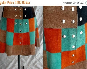 "ON SALE 60s 70s Skirt //  Vintage 60s 70s Suede Leather Patchwork Mini Skirt by Eurostyle Italy Sz M L 30"" waist snaps"