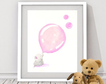 pink elephant art print, baby elephant wall art, elephant art for nursery room, baby girl's nursery art, baby animal wall art, baby shower