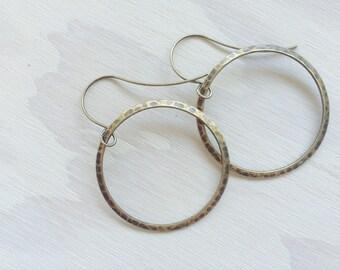 Hammered Bronze Hoop Earrings