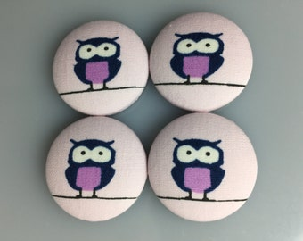 Fabric Covered Button Magnets - Owl Magnets