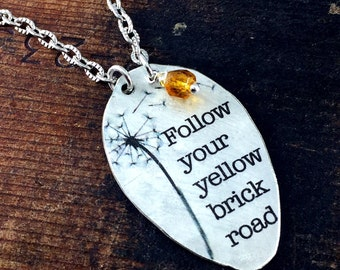 Smaller Size Follow Your Yellow Brick Road Spoon Pendant Necklace with attached Bead Charm on Antique Silver Chain, Inspiring Jewelry