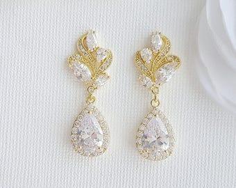 Teardrop Bridal Earrings Gold Crystal Earrings Wedding Jewelry Gold Drop Earrings Rose Gold Cubic Zirconia Bridal Jewelry, Wavy