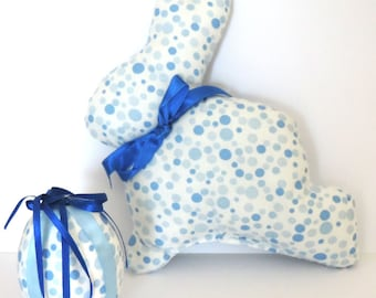 Easter Bunny, Easter decoration, fabric and coordinated egg, color: blue and white