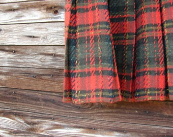 1960 Classic School Girl Pleated Red Wool Tartan Plaid Skirt