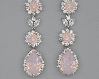 Pink Opal Earrings Blush Wedding Earrings Rhinestone Chandelier Earrings Swarovski Crystal Jewelry for Brides Silver Bridal Earrings