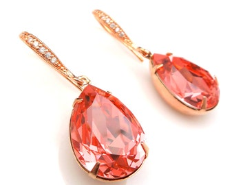 Swarovski rose peach pink teardrop crystal rhinestone earrings rose gold plated cubic deco hooks bridesmaid gift prom gift bridal jewelry