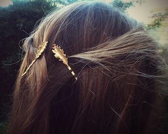 Small Gold Oak Leaf Bobby Pins Leaves Hair Pins Leaf Hair Clips
