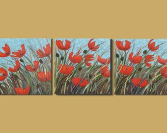 Poppy Painting Combination, Abstract Flower Painting, Modern Floral Painting, Triptych of Poppies, Red, Turquoise Blue, Set of Three On Sale