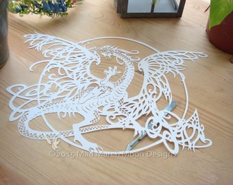 Tangle Dragon Commercial use Papercut TEMPLATE .PDF download