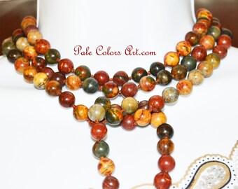 "60"" Lariat Necklace,Double Wrap Necklace,Picasso Jasper Necklace,Gemstone,Boho,Bohemian,Beaded Lariat,Triple Wrap Lariat Necklace,Colorful"