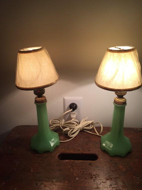 FREE SHIPPING-Pair of Jadeite-Art Deco-Dresser Lamps-Houzex