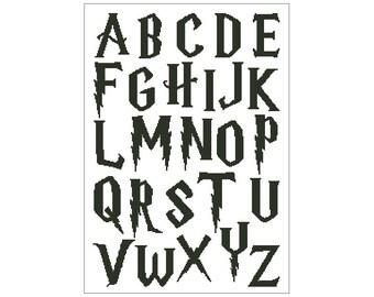 Cross stitch alphabet pattern, embroidery pattern, nursery decor, 40-55 stitches tall, Pdf - PATTERN ONLY (Alph_hp4055co)