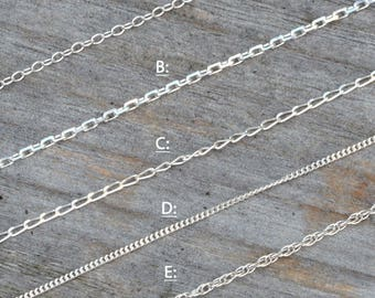"""Trace Chain In Solid Sterling Silver, 14"""", 16"""", 18"""", 20"""", Silver Chain Made In England"""