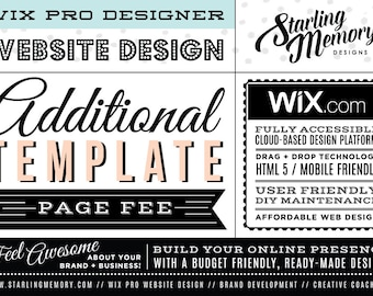 ADDITIONAL TEMPLATE EDITING Wix Website Page Fee - Wix Website Design Package Add-On - Wix WebDesign Package Add-On - Wix Pro Designer
