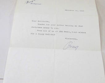 1956 Bing Crosby Autographed Letter with Original Envelope