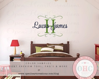 Kids Name Wall Decal with Initial Name and Accents - Boy Name Wall Decal for Baby Nursery Girl or Teen 22H x 36W FN0524