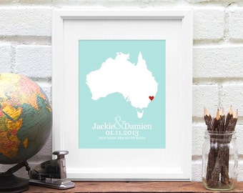 Australia Map, Wedding Gifts, Bridal Shower, Custom Australia Map Print, First One Year Anniversary Gift, Long Distance Love Engagement Gift