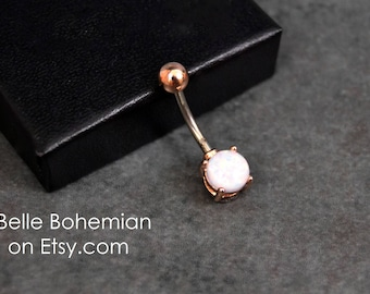 Belly Button Ring White Fire Opal White Opal Rose Gold Fast Shipping Simple Belly Ring Opal Belly Jewelry  Navel Ring