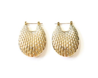 Statement Hoop Earrings Textured Large Hoops Jewelry Abstract Oversized Gold Tone Metal Accessories Posts
