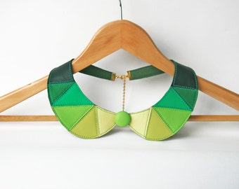 Green Leather Collar Bib Necklace Statement Leather Necklace Geometric Peter Pan Collar