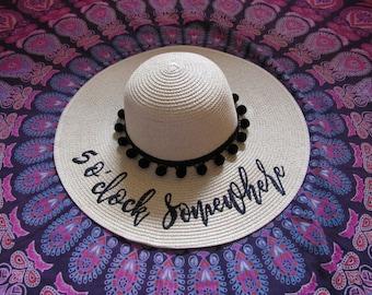 5 O'Clock Somewhere Beach Hat, Floppy Hat, Straw Hat, Ladies Sun Hat, Bachelorette Party, Girls Weekend Away