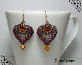 Beads woven around a cabochon swarovski crystal earrings