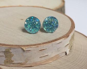 Bridesmaid Druzy Earrings - Aqua - 10mm