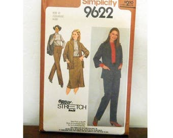 Simplicity Pattern 9622 - Vintage 1980 Jacket, Skirt, Pants and Top Pattern - Uncut - Time-Saver Stretch-Knit Pattern