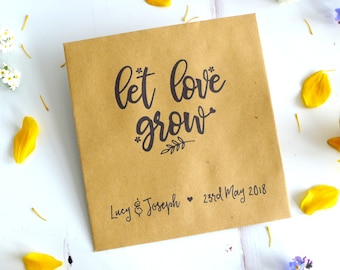 Seed Packet Favour Envelopes - Eco Wedding Favours - Wildflower Seed Packet - Let Love Grow - Personalised Favour Envelope - Boho Wedding