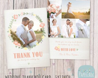 Wedding Thank You Card - Photoshop template - AW014 - INSTANT DOWNLOAD