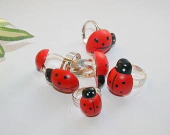 """""""Ladybug"""" wooden ring"""