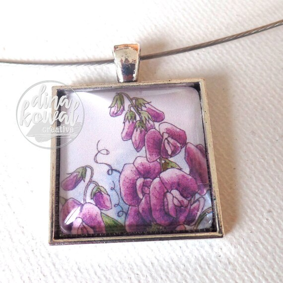 Sweet pea  - sweetpea floral domed glass tile pendant necklace
