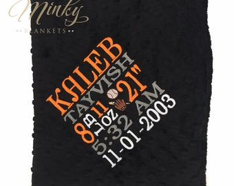 Personalized Baby Blanket - Birth Stats - Minky Blanket - Newborn Gift