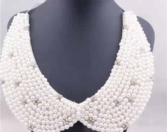 Pearl Bib necklace with crystal embellishments