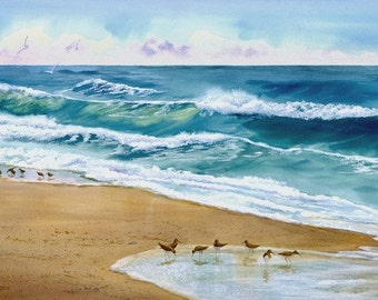 Wave with Sandpipers giclee print for beautiful beach decor