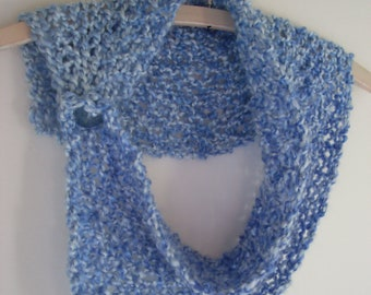 Variegated blue bulkly knit buttoned cowl