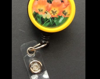 Orange and Yellow Tulips badge reel -- show your love of nature while wearing your ID