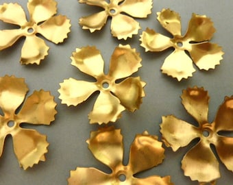 6 Brass Flower Stampings for Rivets or Layering - Five Petals