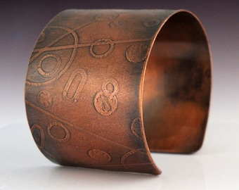 Circles and Lines Etched Copper Cuff Bracelet