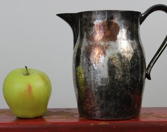 Water Pitcher with Ice Lip Rustic Silver Plate on Copper Pitcher Paul Revere
