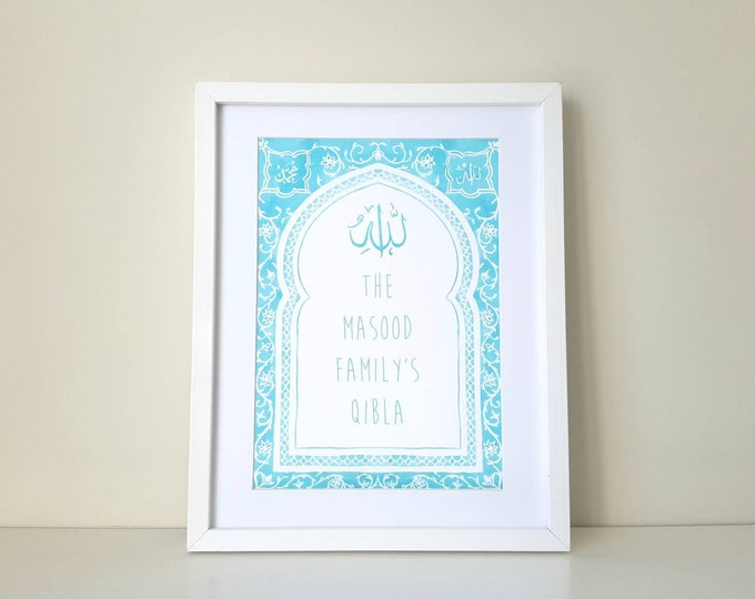 Personalised Family Qibla Print - Choose your wording and colours