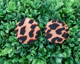 Cheetah- Handmade Fabric Button Earrings