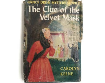 Vintage Nancy Drew 1953  Mystery Book The Clue of the Velvet Mask #30 Carolyn Keene Vintage Book Detective Story Juvenile Fiction Mysteries
