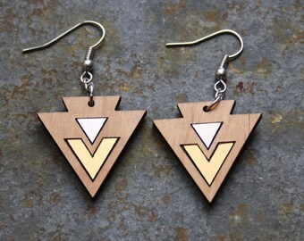 Geometric earrings, art deco inspiration, triangle and chevron inlays, silver gold color, minimal jewelry, wooden jewel made in France Paris