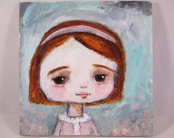 Original Mixed Media Girl Bright Hair Doe Eyes Wood Canvas Ceville Designs