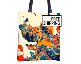 Reykjavik Map Tote Bag - Iceland Map Tote Bag 15x15